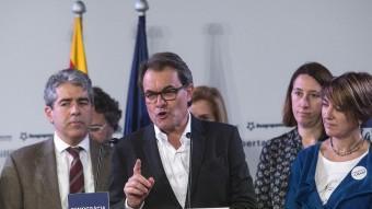 Artur Mas i Francesc Homs i Francesc Homs ahir valorant els resultats de Democràcia i Llibertat JOSEP LOSADA