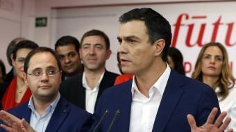 El cap de llista del PSOE, Pedro Sánchez, aquest diumenge a la seu del partit EFE