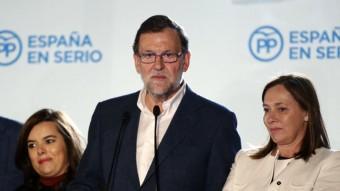 El líder del PP, Mariano Rajoy, aquest diumenge a la seu del partit, a Madrid EFE
