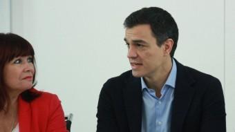 Pedro Sánchez, Micaela Navarro i César Luena, a l'executiva del PSOE ACN