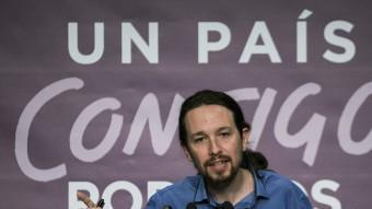 El líder de Podem, Pablo Iglesias, en la roda de premsa d'aquest 21 de desembre EFE