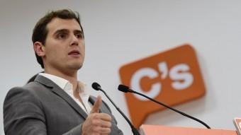 Albert Rivera va comparèixer ahir a la seu madrilenya de Ciutadans per analitzar el resultat electoral del 20-D JAVIER SORIANO / AFP