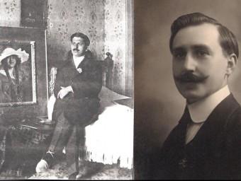 El pintor Adrià Campdesunyer, a l'esquerra de la imatge, i l'artista Joan Potau i Martell, a la dreta AJUNTAMENT DE VIMBODÍ