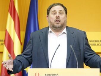 El líder d'ERC, Oriol Junqueras, durant la compareixença posterior a l'executiva republicana EFE