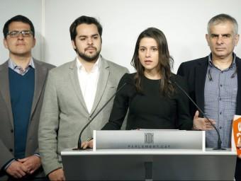 La presidenta del grup de C's al Parlament, Inés Arrimadas, aquest dilluns al faristol de la cambra EFE