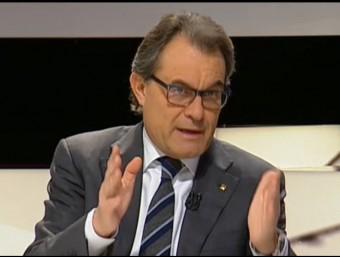 El president del govern en funcions, Artur Mas, aquest dijous a TV3