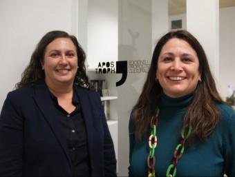 Alexandra Cuadrat i Annabel Encontra, fundadores de l'editorial Apostroph, ahir al despatx de l'empresa D. MARÍN