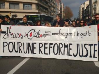 Manifestació del professorat de català al centre de Perpinyà NATXO VALENZUELA