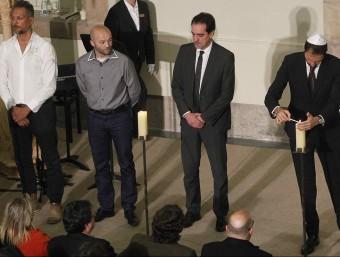Representants dels col·lectius que van patir l'Holocaust, aquest dimecres a l'acte de commemoració que ha tingut lloc al Parlament EFE
