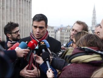 El secretari general del PSOE, Pedro Sánchez, ahir a Brussel·les EFE