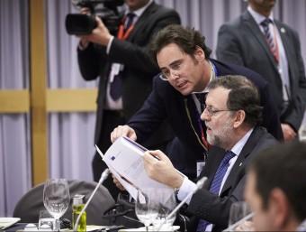 El president del govern espanyol en funcions, Mariano Rajoy, aquesta nit a la cimera europea, a Brussel·les ACN