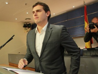 El líder de C's, Albert Rivera, aquest dimarts en roda de premsa al Congrés ACN