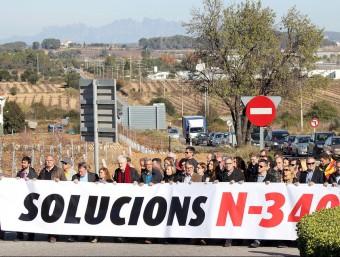 Un moment de la protesta del passat mes de novembre a l'Arboç. J.M. FLORES / TAEMPUS