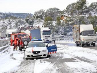 L'autovia A-2 a la zona del Bruc, durant la nevada del febrer de l'any passat JUANMA RAMOS