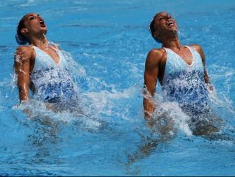 Carbonell i Mengual durant la rutina tècnica d'ahir al preolímpic de Rio REUTERS