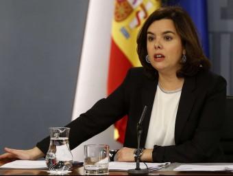 La portaveu del govern espanyol, Soraya Sáenz de Santamaría, aquest divendres a La Moncloa EFE