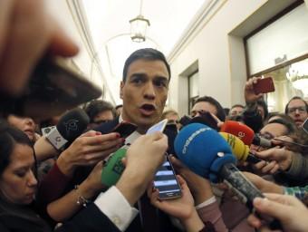 El candidat del PSOE, Pedro Sánchez, després del debat d'investidura d'aquest divendres, al Congrés dels Diputats EFE
