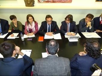 El conseller Josep Rull, a l'inici de la reunió del Consorci Viari del Bages, celebrada ahir a Manresa JORDI PREÑANOSA