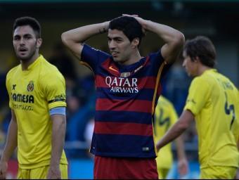 Luis Suárez en un moment del partit a El Madrigal