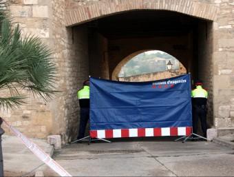 Agents dels Mossos sostenen una lona per protegir la identitat de familiars de les víctimes de l'accident de Freginals que arriben al Parador de Tortosa ACN