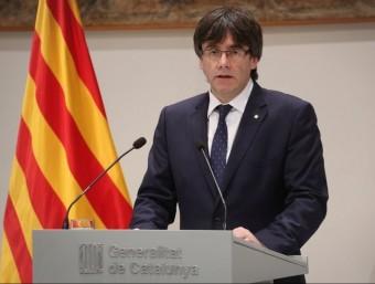 Puigdemont, durant la compareixença d'aquest dimarts EUROPA PRESS
