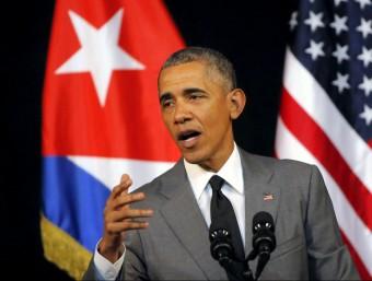 Obama, durant el seu discurs al poble cubà al Gran Teatre Alicia Alonso de l'Havana REUTERS