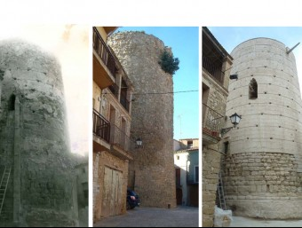A primers del s. XX, encara s'apreciava part del guix exterior. Al centre i a la dreta, abans i després de la darrera restauració ARXIUS HISTÒRICS/A. MARTÍ