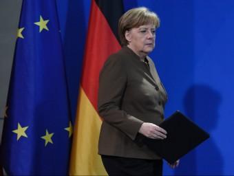 Angela Merkel, la cancellera alemanya durant la compareixença que va fer ahir amb motiu dels atacs a Bèlgica afp