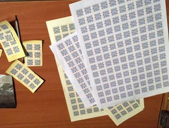 Detall de paper moneda falsificat en laboratori desmantellat a Olesa de Montserrat ACN
