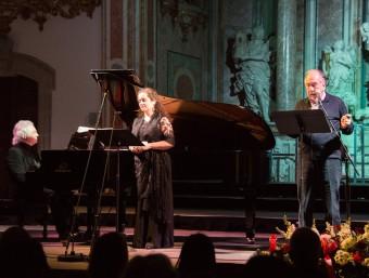 La soprano Ofèlia Sala, el pianista Jordi Camell i el poeta Joan Margarit FESTIVAL DE PASQUA DE CERVERA