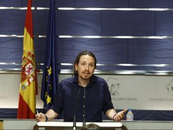 El secretari general de Podem, Pablo Iglesias, ahir al Congrés EUROPA PRESS