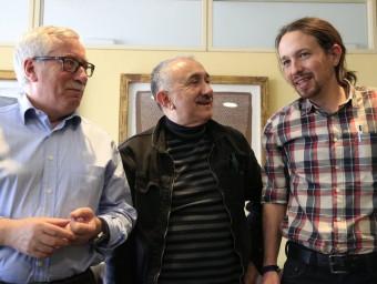 Iglesias es va reunir ahir amb els secretaris generales de CCOO, Ignacio Fernández Toxo, i UGT, Josep María Álvarez EFE