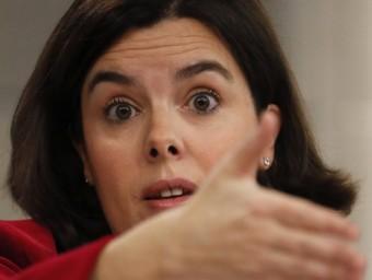 Soraya Sáenz de Santamaría, portaveu del govern espanyol, durant la roda de premsa posterior al Consell de Ministres EFE