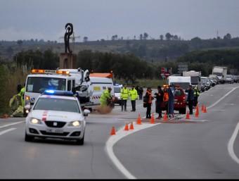El tram de l'accident, que va tenir lloc al quilòmetre 763 de l'N-II, a l'altura d'un trencall per anar a Masarac i a la base militar de Sant Climent Sescebes. MANEL LLADÓ