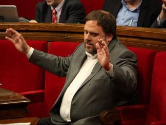 El líder d'ERC, Oriol Junqueras, aquest dimecres al Parlament ACN