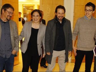 D'esquerra a dreta, Xavier Domènech, Ada Colau, Pablo Iglesias i Íñigo Errejón, ahir EUROPA PRESS