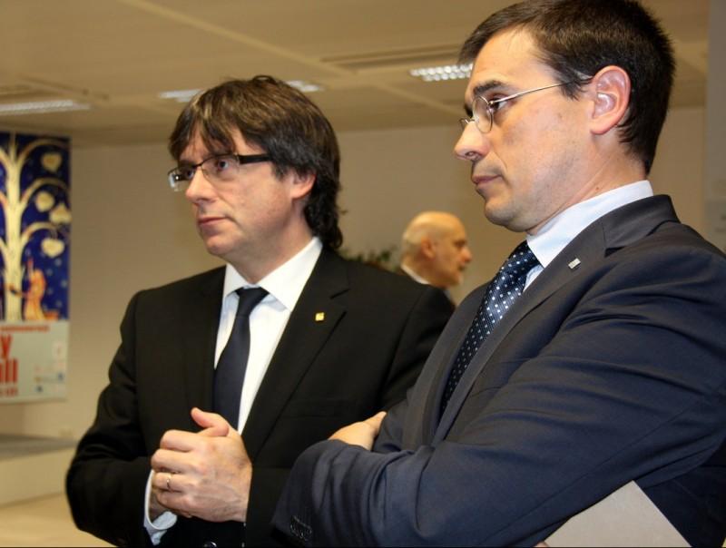 Carles Puigdemont i Amadeu Altafaj, ahir a Brussel·les on ahir el president va acabar el seu viatge oficial de tres dies ACN