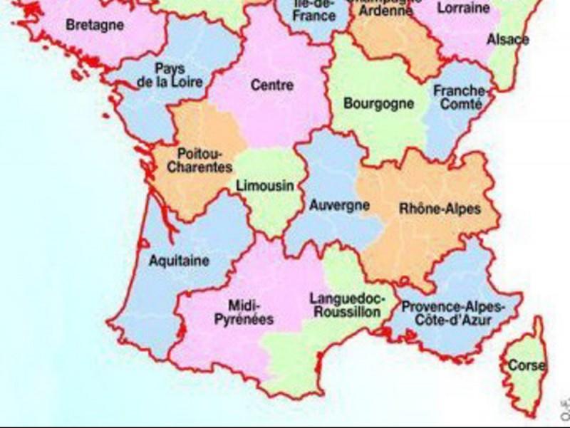 Les 14 noves regions de l'Estat francès.