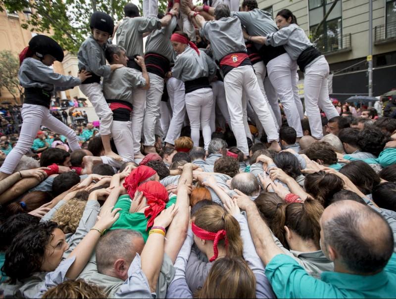 Els Castellers de Sants , van fer la nova pinya amb els braços aixecats, a l'actuació d'ahir ALBERT SALAMÉ