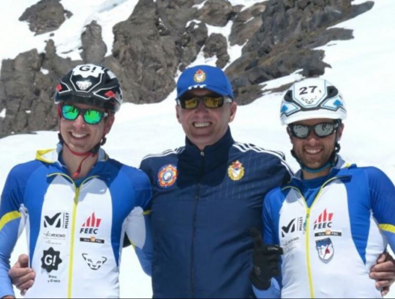 Oriol Cardona i Marc Solà a l'Elbrús, on la selecció va fer el nou rècord del món FEEC