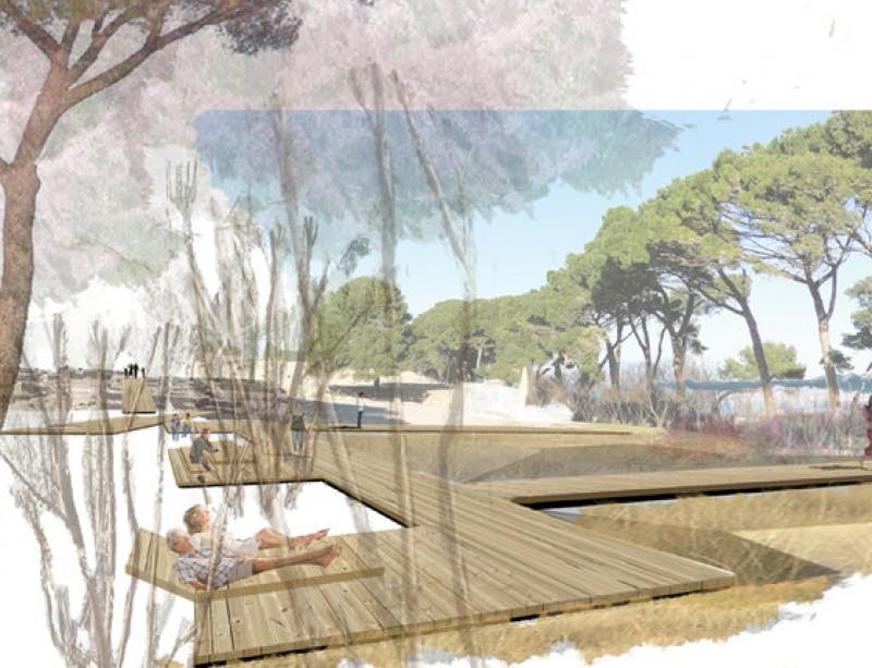 Recreació virtual de l'àrea de descans que s'arranjarà en l'entorn del museu EL PUNT AVUI