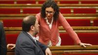 Junqueras i Rovira, en un debat de pressupostos al Parlament, el 2016. Rufián i Mundó, en un acte electoral el 2017