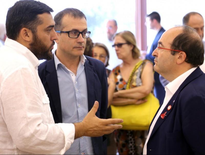 Marc Lamuà , Pere Casellas i Miquel Iceta ahir a Figueres QUIM PUIG