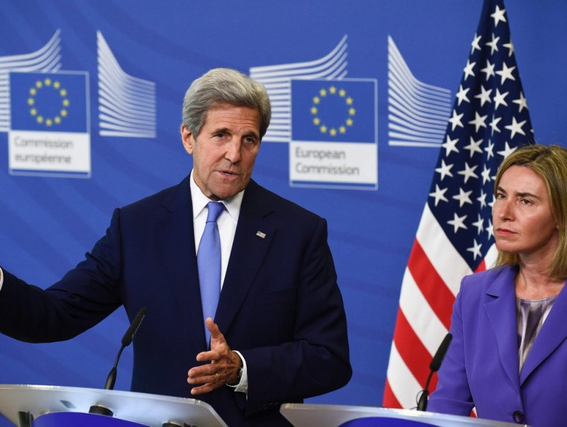 John Kerry i Federica Mogherini durant la roda de premsa que van oferir ahir després de la seva trobada a Brussel·les JOHN THYS / AFP