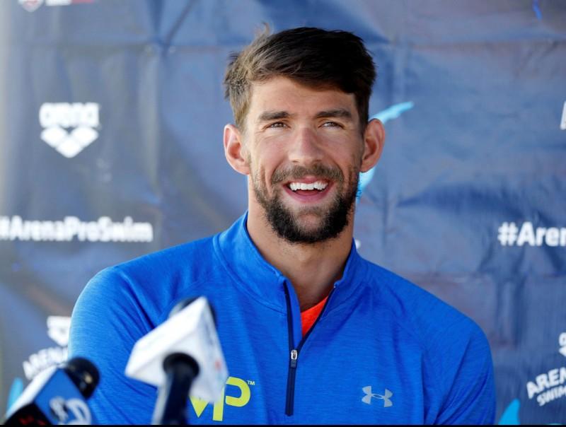 Phelps en la seva roda de premsa