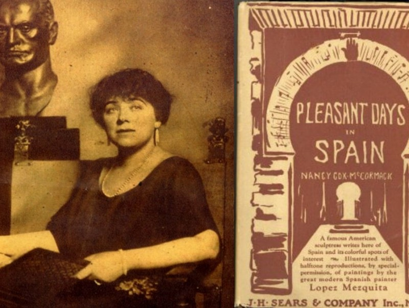Nancy Cox and the cover of her book, Pleasant Days in Spain.  ARCHIVE