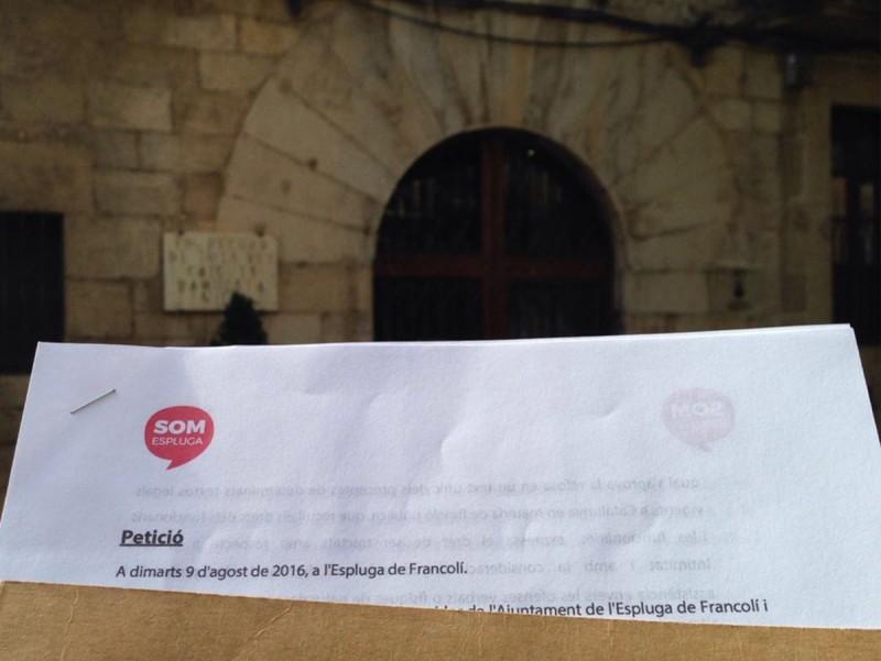 La petició de Som Espluga es va presentar per escrit EPN