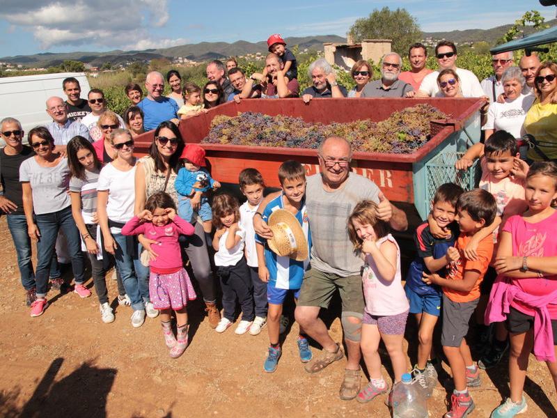 El grup que ahir al matí va ajudar a veremar a les vinyes del Mas Ponsjoan de Calonge, amb el remolc de raïm que van recol·lectar E.A