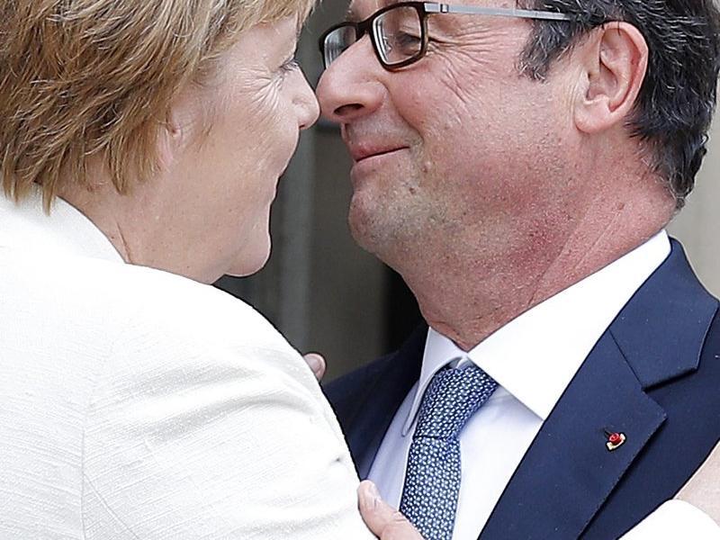 Hollande i Merkel, els líders de l'eix francoalemany.  ARXIU/EFE