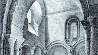 Gravat de 1844 de Parcerisa, on es veu el Panteó Reial ARXIU